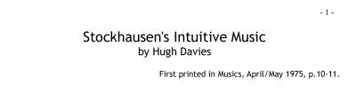 Stockhausen's Intuitive Music by Hugh Davies