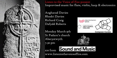 Aberystwyth Unland: Improvised music for flute, violin, electronics and harp 09.03.2020