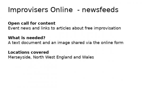 Improvisers Online Newsfeed open call for content