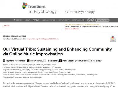 Our Virtual Tribe: Sustaining and Enhancing Community via Online Music Improvisation