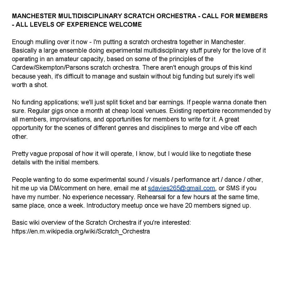 a scratch orchestra in Manchester Open Call
